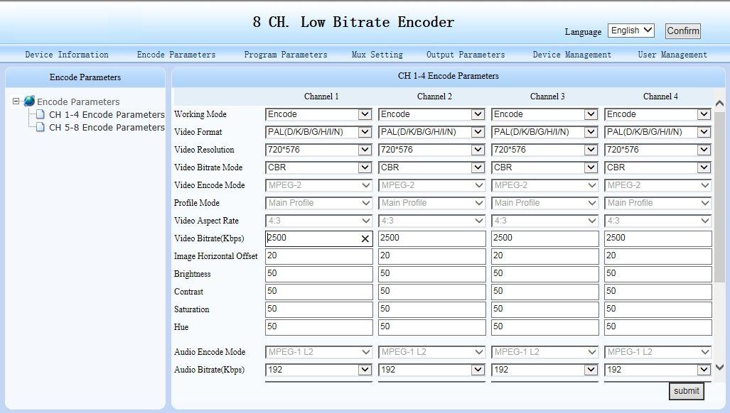 Encoder parameters